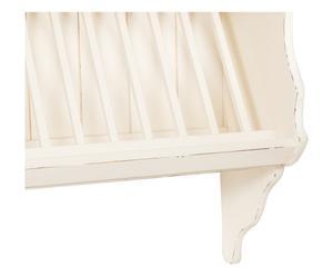 Piattaia in legno con 2 ripiani bianco - 90x97x34 cm