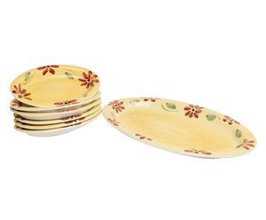 Set di piatti ovali in ceramica Dalia - 7 pezzi
