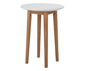 Tavolino in legno di rovere BERGEN bianco - 45x60x45 cm