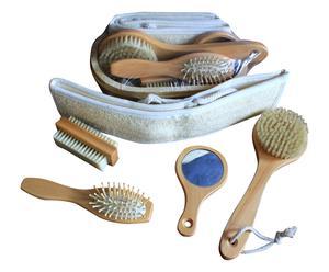 Tinozza con set rilassante doccia in legno e fibre naturali - 6 pz