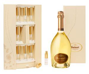 Bottiglia di ruinart blanc de blancs interprétation con flaconcini - 0,75 l
