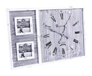 Orologio da parete in legno con portafoto florence - 60x40x4 cm