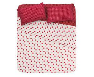 Completo letto piazza 1/2 in cotone pois - rosso