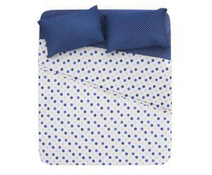 Completo letto piazza 1/2 in cotone pois - blu