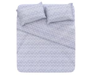 Completo letto matrimoniale in cotone pois - grigio