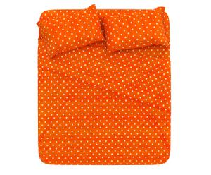 Completo letto piazza 1/2 in cotone pois - arancione
