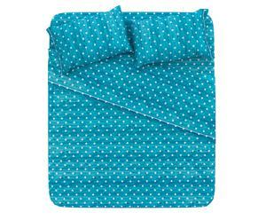 Completo letto piazza 1/2 in cotone pois - verde tiffany