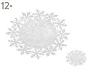 Set di 12 sottopiatti con sottobicchieri in feltro bianco - d 33 cm