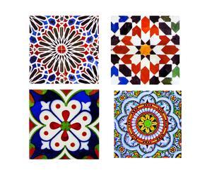 Set di 4 piastrelle adesive in vinile Azulejos rosso - 20x20 cm