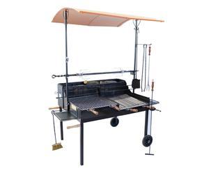 Barbecue in ferro e acciaio Fuocone a legna Tuscany - 120x220x100 cm