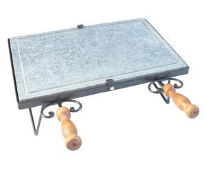 Bistecchiera in pietra Ollare e ferro battuto con 2 manici - 50x21x48 cm