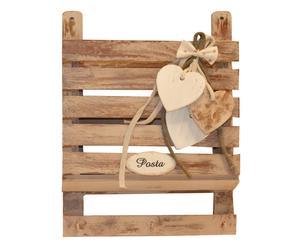 Porta posta appendi chiave in legno decorato a mano - 30x25 cm