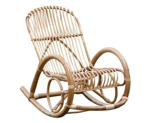 Sedia a dondolo in manao e giunco Vintage - 60x94x115 cm