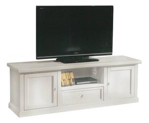 Porta tv con vano e 2 ante in legno bianco - 160x56x45 cm