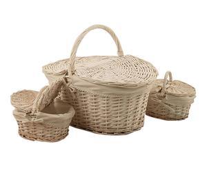 Set di 3 cestini da picnic in vimini bianco - 46x39x34 cm