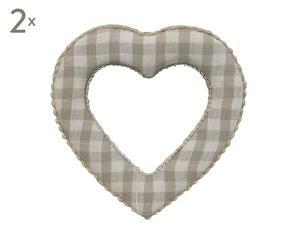Set di 2 fermatende a cuore in legno e tessuto scozzese - 14x14 cm