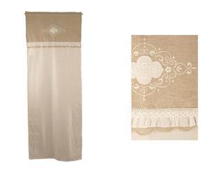 Tenda in tessuto con pizzo e ricamo Summer beige - 60x160 cm