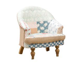 Poltrona in legno e tessuto patchwork Rose multicolor - 74x83x70 cm