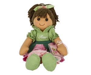 Bambola in cotone e lana con vestito Rose - H 42 cm