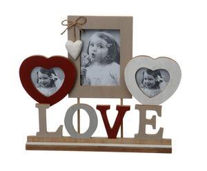 portafoto da tavolo a 3 spazi love - 27x33 cm