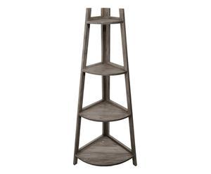 Angoliera in legno con 4 ripiani Natural - 58x130x40 cm