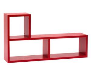 Libreria a 3 vani in laminato Camilla rosso - 135x30x74 cm