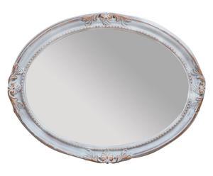 Specchio ovale con cornice intarsiata cipria e bianco - 63x83 cm