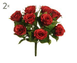 set di 2 bouquet di rose rosse - 5x33x5 cm