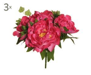 set di 3 bouquet di peonie fucsia - 4x32x4 cm