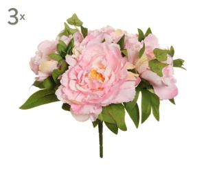 set di 3 bouquet di peonie rosa - 4x32x4 cm