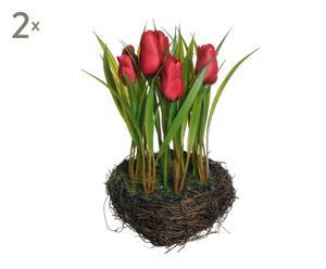 set di 2 mazzi di tulipani rossi in nido - d 12/h 35 cm