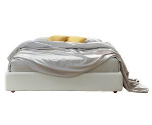 Letto sommier contenitore in tessuto bianco - matrimoniale