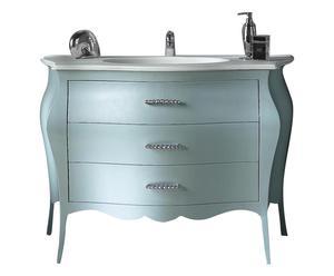 Mobile bagno in pioppo con lavabo e maniglie svarowski - 118x82x55 cm