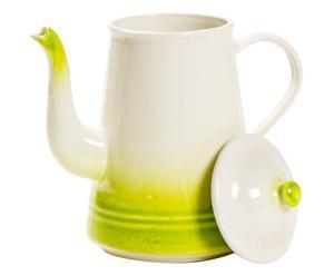 Caffettiera in ceramica Fatina bianco/verde - 19x12x19 cm