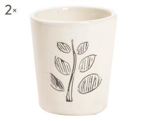 Set di 2 bicchieri in ceramica Spiga bianco - d 6/h 6 cm