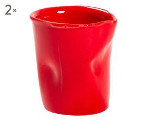 Set di 2 bicchieri in ceramica Siena rosso - d 6/h 6 cm