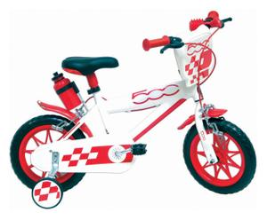 Bicicletta bimbo in acciaio Fiat 500 B bianca e rossa - 12