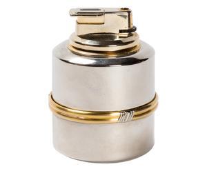 Accendino cilindrico da tavolo in silver e ottone - anni '70