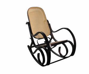 Sedia a dondolo in legno e seduta impagliata Venus legno scuro - 54x96x90 cm