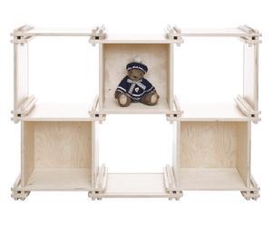 Libreria componibile e montabile in legno sbiancato Lia - 109x73x25 cm