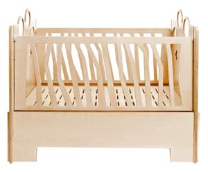 Lettino con sponde regolabili in legno naturale Tino - 130x107x85 cm