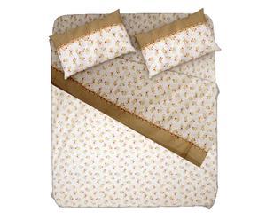 Completo letto piazza 1/2 in 100% flanella tortora  - fiore