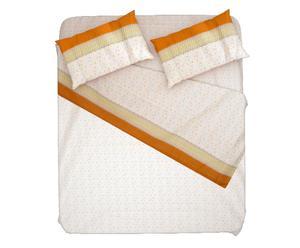 Completo letto piazza 1/2 in 100% flanella arancio  - cerchio