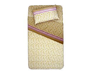 Completo letto singolo in 100% flanella panna  - arabesco
