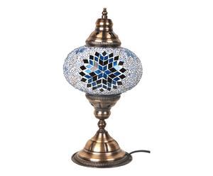 Lampada da tavolo in metallo e vetro a mosaico star blu - 30x17 cm