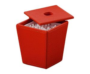 Porta cotton fioc in ecopelle kyoto rosso - H 10 cm