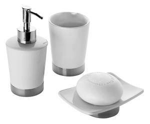 Set accessori da bagno in ceramica e acciaio petunia - 3 pz