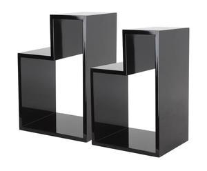 set di 2 pensili da parete in pino eden nero - max 38x25x20 cm