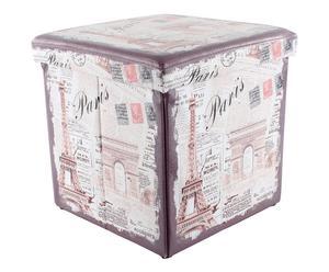 Pouf contenitore in betulla ed ecopelle Paris - 38X38X38 cm