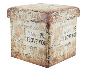 Pouf contenitore in ecopelle words - 36x36x36 cm